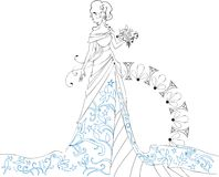 Ornate Bride  Silhouette hand drawing with bouquet Royalty Free Stock Photography