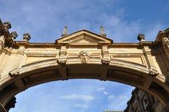 Ornate bridge with Roman reliefs stock photo