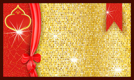 Ornate bright festive gift voucher with a golden textured background and ribbon with a bow. Vector illustration Stock Photos
