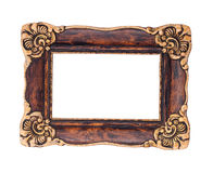 Ornate brown and golden baroque frame isolated on the white back Stock Image