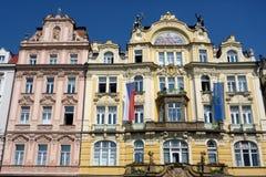 Ornate Building Facades, Prague Stock Photo