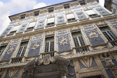 Ornate Building In The Narrow Alleyways Or Carruggi Around The City Of Genoa In Italy Royalty Free Stock Photography