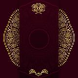 Ornate burgundy background with golden mandala. Template for menu, greeting card, invitation or cover. Vector illustration. Stock Images