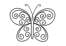 Ornate butterfly. Ornate shape of butterfly isolated on white background Royalty Free Stock Photos