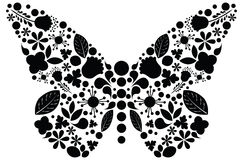 Ornate butterfly illustration. Vector black floral illustration of butterfly Stock Image