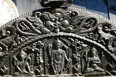 Ornate carving. Indian or Nepalese ornate carving Stock Photo