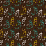 Ornate cats pattern. Royalty Free Stock Photo