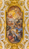 Ornate ceiling of the Church of San Luigi dei Francesi in Rome. Rome, Italy - October 13, 2016: Ornate ceiling of the baroque Church of St. Louis of the French Stock Photo
