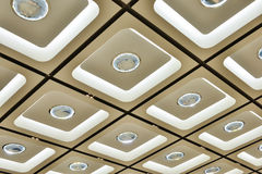 Ornate ceiling. Decorated with led light and crystal ball in a modern giant building Royalty Free Stock Image