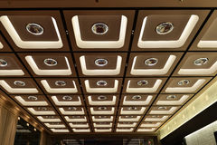 Ornate ceiling. Decorated with led light and crystal ball in a modern giant building in China,Asia Stock Image
