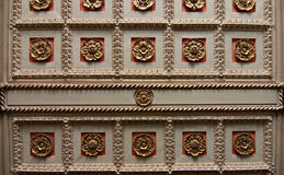 Ornate Ceiling. In Downtown Cleveland, Ohio Office Building. The ceiling represents the golden age of industry in Cleveland Royalty Free Stock Photo