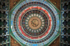 Ornate ceiling inside a pavilion at the Forbidden City, Beijing, China Stock Photo