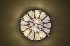 Ornate ceiling light in apartment Royalty Free Stock Photography