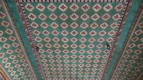 Ornate ceiling ornaments in Jaipur hindu temple, India stock video