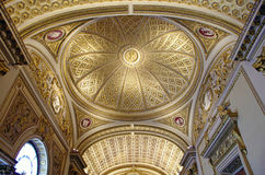 Ornate ceiling. View of the ornate golden ceiling in one of the halls of Uffizi Gallery in Florence, Italy Stock Images