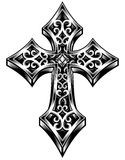 Ornate Celtic Cross Vector. Fully editable vector illustration of ornate celtic cross in black on isolated white background, image suitable for logo, crest Royalty Free Stock Image