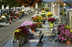 Ornate cemetery at Toussaint day, France Stock Photo