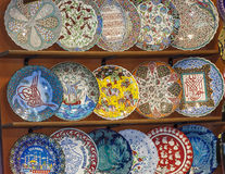 Ornate ceramics at a market stall Stock Images