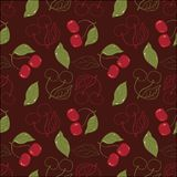 Ornate cherry pattern isolated on a broun Stock Images