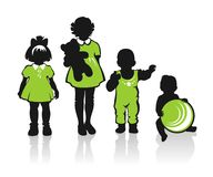 Ornate children silhouettes Royalty Free Stock Photo