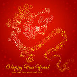 Ornate chinese New Year of stylized Dragon card royalty free illustration