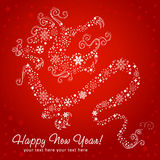 Ornate chinese New Year of stylized Dragon card. Made of snowflakes royalty free illustration