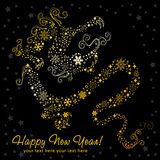 Ornate chinese New Year of stylized Dragon card. Made of snowflakes stock illustration