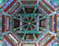 Ornate Chinese painted ceiling in temple in Asia Royalty Free Stock Photos