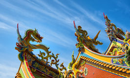 Ornate Chinese Temple detail in the sky Royalty Free Stock Image
