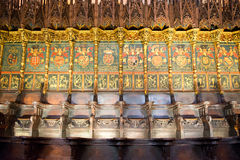 Ornate Choir Seating in Barcelona Cathedral Royalty Free Stock Image