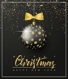 Ornate Christmas ball with glitter and gold bow on a black background. Christmas greeting card .Vector illustration. Ornate Christmas ball with glitter and gold Stock Images