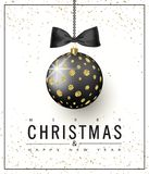 Ornate Christmas ball with gold glitter and black bow on a white background. Christmas greeting card .Vector illustration.  Stock Photography
