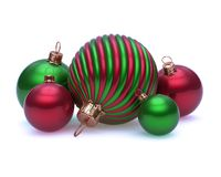 Ornate Christmas balls decoration shiny red green ornate baubles vector illustration
