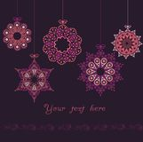 Ornate christmas balls in hearts Royalty Free Stock Photos