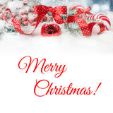 Ornate Christmas border in red with polka dots, text space Royalty Free Stock Images