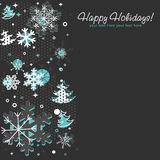 Ornate Christmas card with snowflakes. Xmas fir trees and stars on a halftone background Vector Illustration