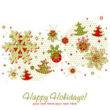 Ornate Christmas card with snowflakes. Xmas fir trees and stars on a halftone background Royalty Free Stock Images