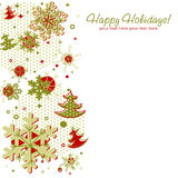 Ornate Christmas card with snowflakes. Xmas fir trees and stars on a halftone background Stock Images