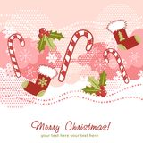 Ornate Christmas card with xmas stocking Royalty Free Stock Photography
