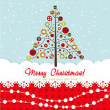 Ornate Christmas card with xmas tree Royalty Free Stock Photo