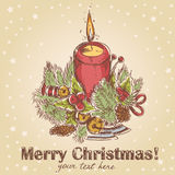 Ornate Christmas hand drawn retro postcard Royalty Free Stock Photos