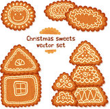 Ornate Christmas sweets vector set Stock Image