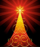Ornate Christmas tree. Decorative Christmas tree in red colour royalty free illustration