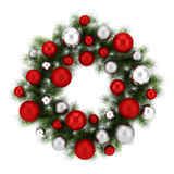 Ornate christmas wreath isolated on white Royalty Free Stock Photos