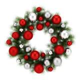 Ornate christmas wreath isolated on white. Background Royalty Free Stock Photos