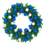 Ornate christmas wreath isolated on white Royalty Free Stock Images