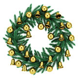 Ornate christmas wreath isolated on white Stock Images