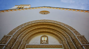 Ornate Church facade looking up Royalty Free Stock Image