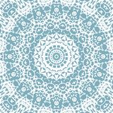 Ornate circle ornament white blue gray centered. Abstract geometric vintage background, lace pattern. Regular delicate circle ornament white on blue gray, ornate vector illustration