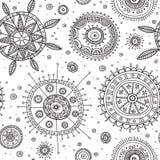 Ornate circles boho style seamless pattern Stock Images